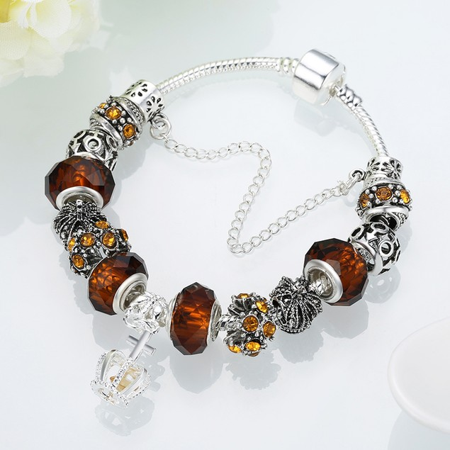 Royal Orange Citrine Crown Jewel Designer Inspired Bracelet