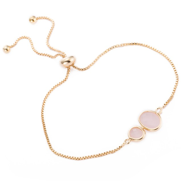 Gold Plated Duo Circular Coral Gem Bracelet
