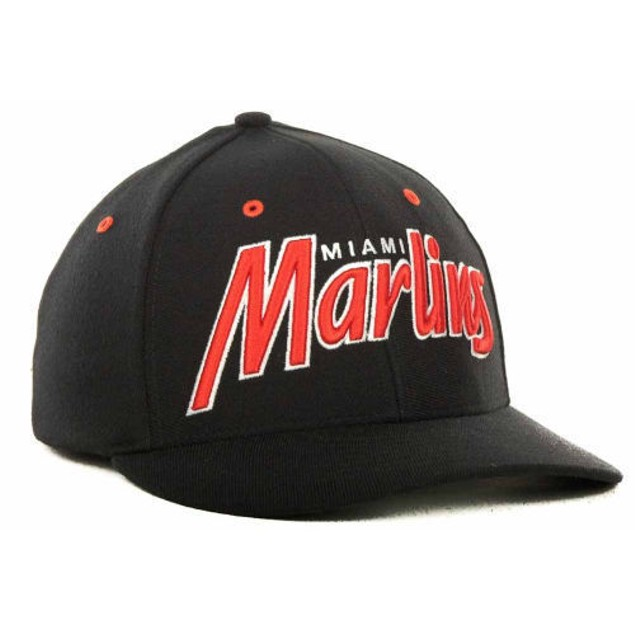 "Miami Marlins MLB 47' Brand ""Retro Script"" Stretch Fitted Hat"