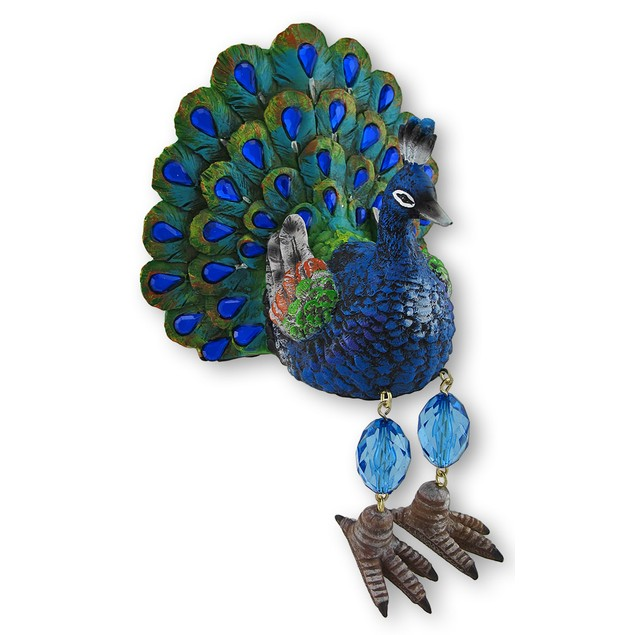 Blue Regal Peacock Shelf Dangler Figurine Shelf Shelf Sitters