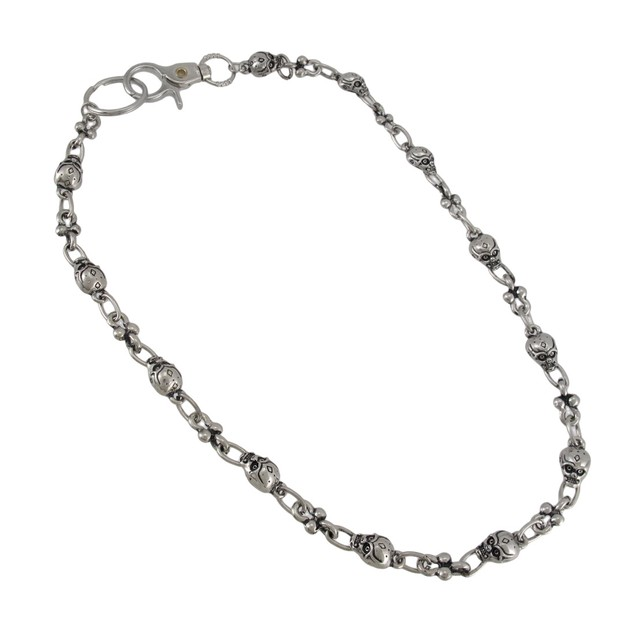 Chrome Plated Angry Skull Link Wallet Chain Jeans Mens Wallet Chains