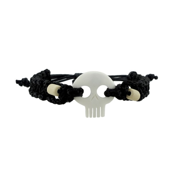 Braided Black Nylon Cord Adjustable White Skull Mens Pendant Necklaces