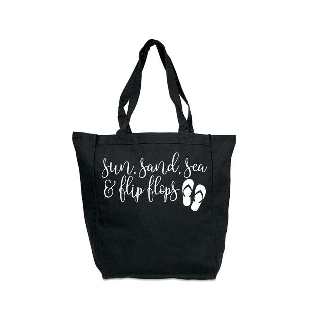 Sun Sea Sand & Flip Flops Black Tote Bag