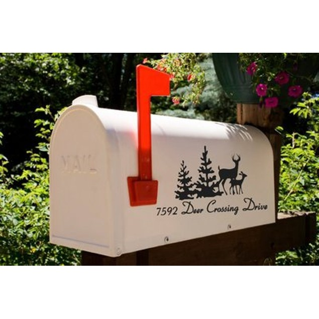Deers in the Woods Vinyl Mailbox Decal