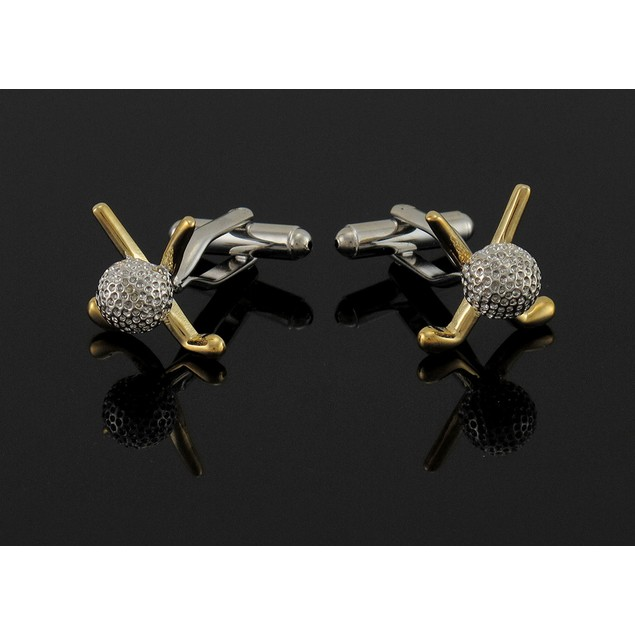 Stainless Steel Crossed Golf Clubs And Ball Cuff Mens Cuff Links