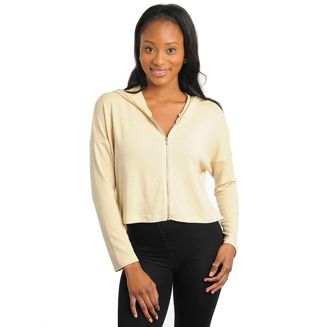 JUNIORS HOODED SWEATER FABRIC CROP TOP NEW