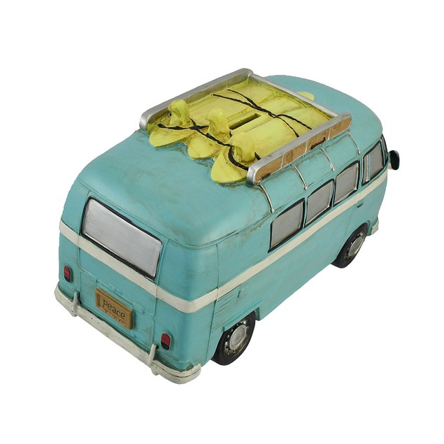 Blue Retro Surfer Van With Peace Signs Coin Bank Toy Banks