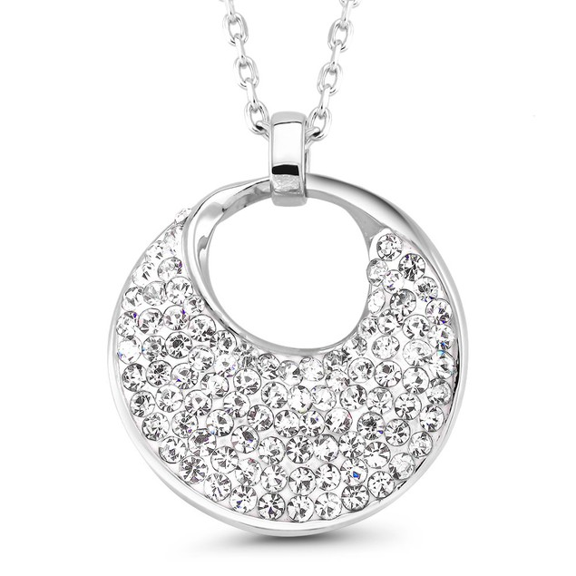 Modern Pave Cubic Zirconia Disc Necklace
