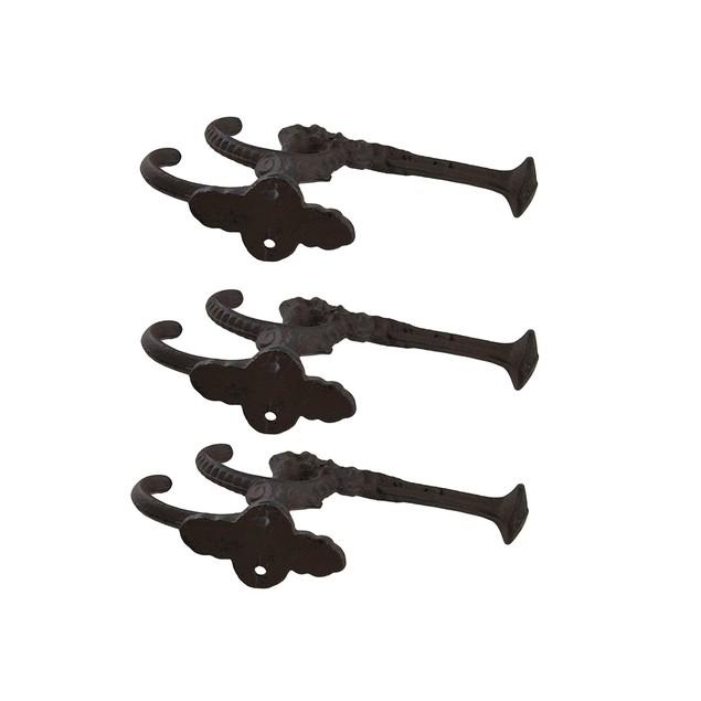 Rustic Brown Cast Iron Dragon Head Wall Hook Set Decorative Wall Hooks