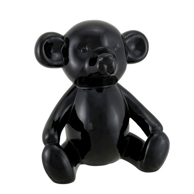 Large Glossy Black Ceramic Teddy Bear Statue 8 1/2 Statues