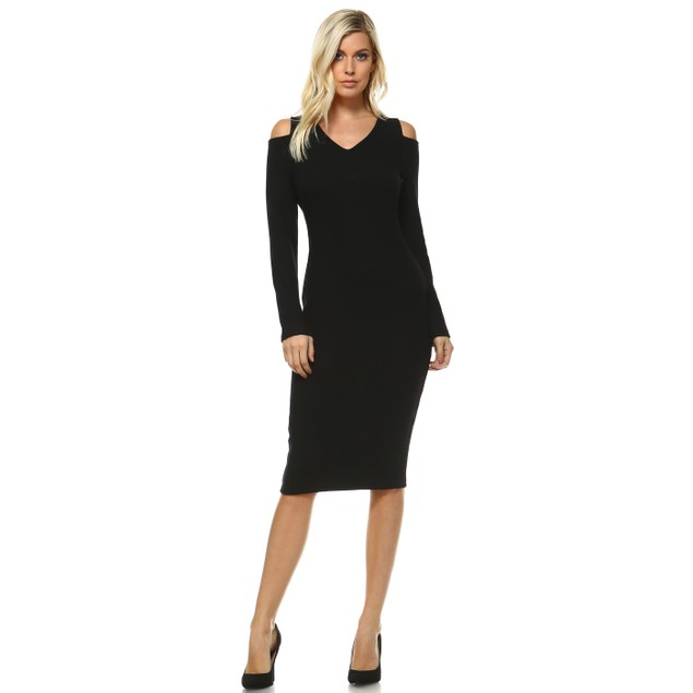 White Mark Taline' Cut Out Shoulder Midi Sweater Dress
