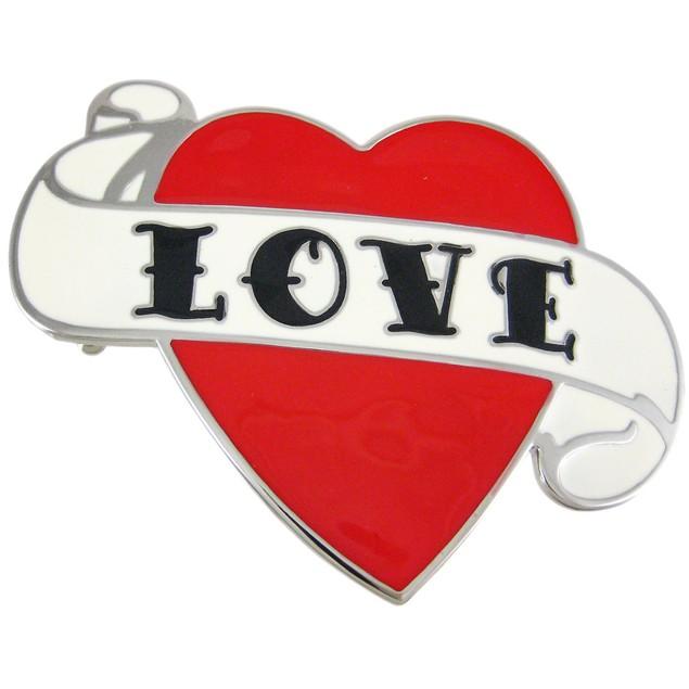 Tattoo Style Love Heart Enamel Belt Buckle Mens Belt Buckles