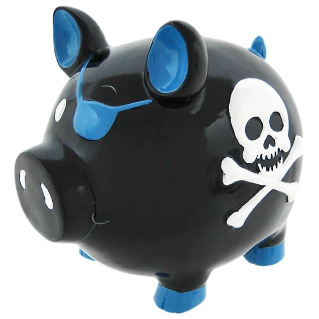 Black Pirate Pig Blue Skull & Crossbones Piggy Toy Banks
