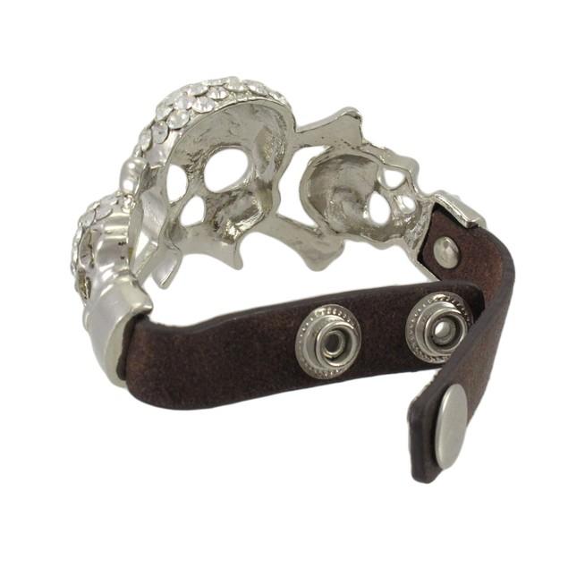 Rhinestone Encrusted Triple Skull Brown Leather Womens Leather Bracelets
