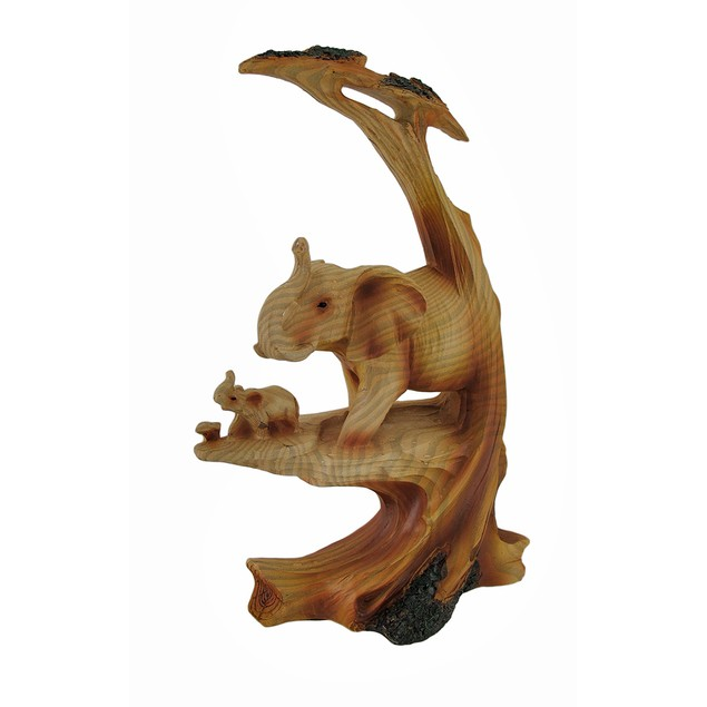 Trunk Up Mother Elephant And Calf Faux Wood Statues