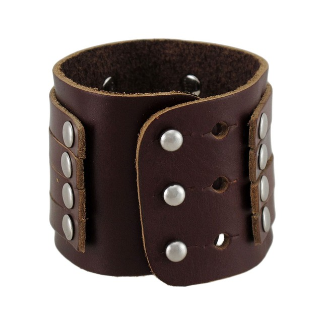 Brown Leather 4 Strap Wristband Wrist Band Chrome Mens Leather Bracelets