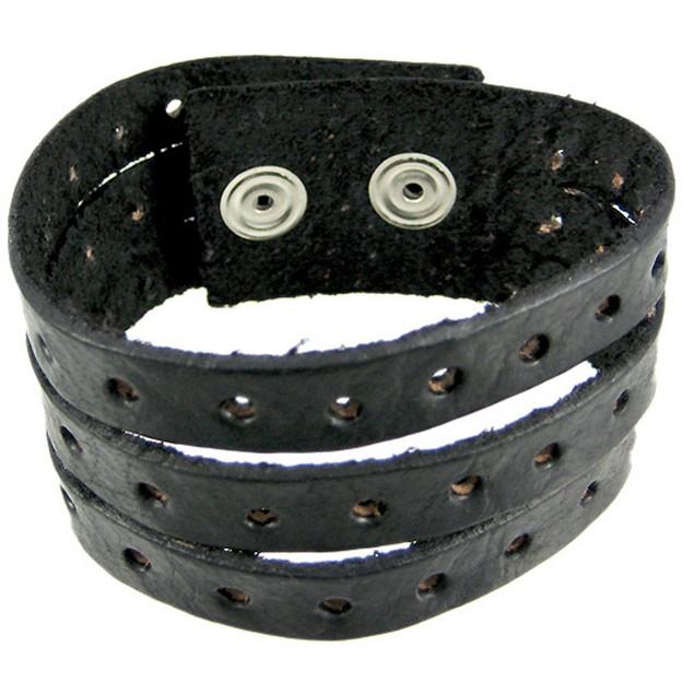 Black Leather Split Strap Wristband Bracelet Mens Leather Bracelets