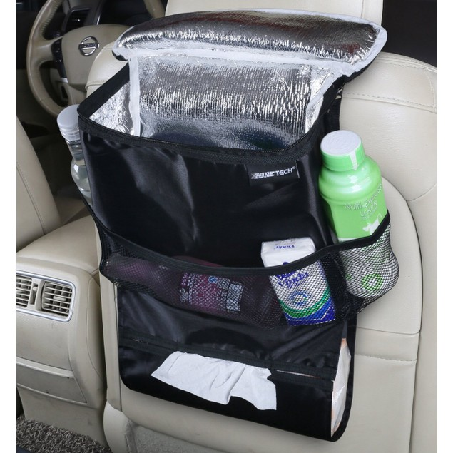 Zone Tech Travel Back Seat Organizer Insulated Food Drink Thermos Cooler