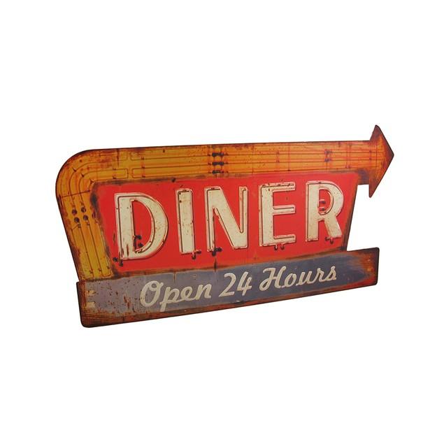 Distressed Finish Retro 24 Hour Diner Metal Sign Decorative Plaques