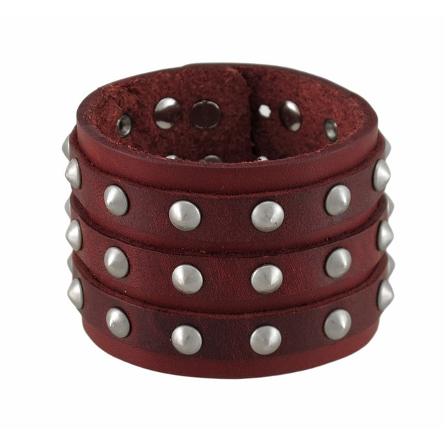 Brown Leather 3 Row Cone Spiked Wristband Wrist Mens Leather Bracelets