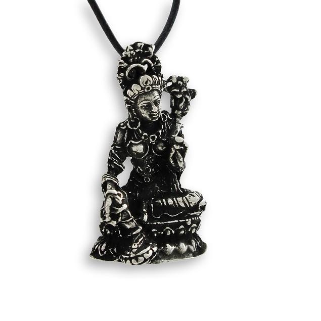 Buddhist Mother Goddess Tara 3-D Pewter Pendant Womens Pendant Necklaces