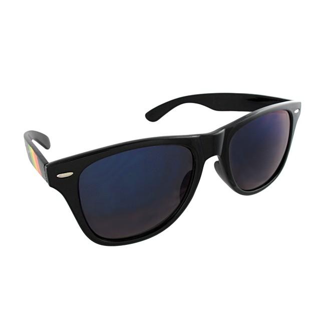 Retro Style 80`s Black Frame Rasta Arm Sunglasses Blue Lenses