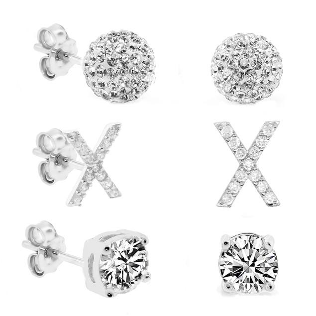 3-Piece Set: Initial Stud Earrings with Swarovski Elements - X