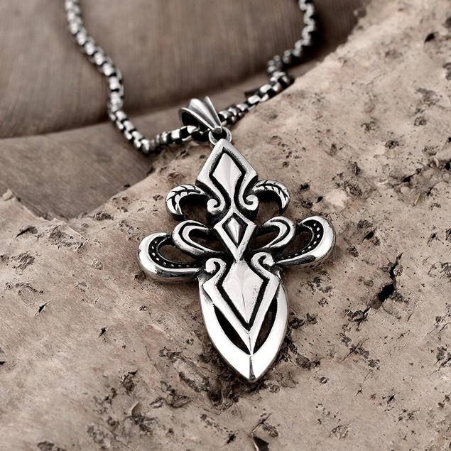 Alpha Steel Stainless Steel Hollow Cross Necklace