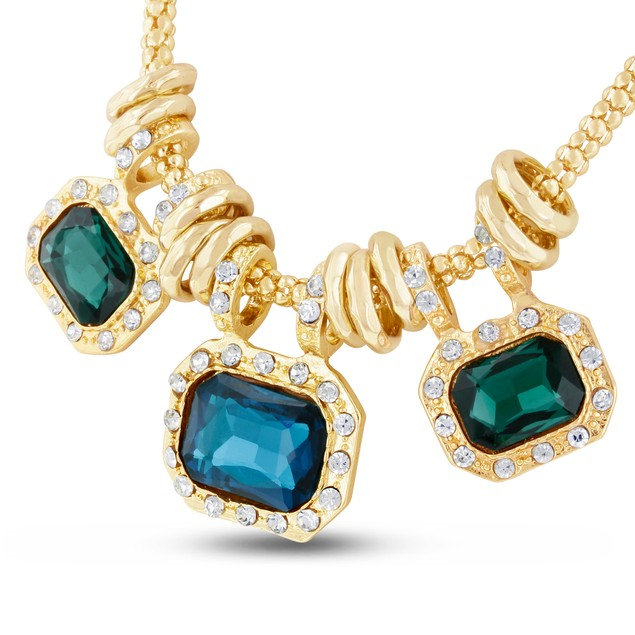 18 Karat Gold Plated Emerald and Blue Sapphire Glass And Crystal Statement Necklace