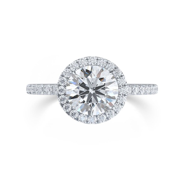 White Gold Plated & Round CZ Halo Ring