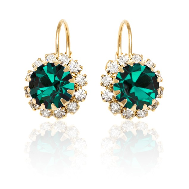 Forest Green Crystal Flower Earrings