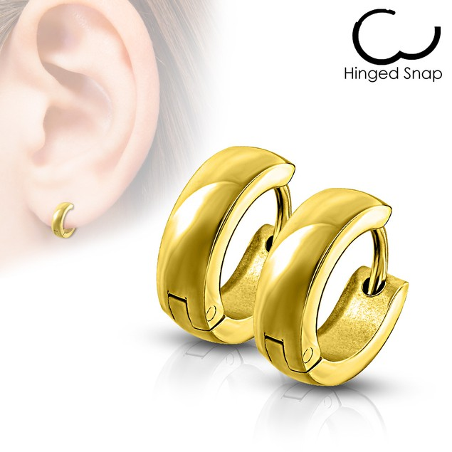8mm Stainless Steel Dome Hoop/Huggie Earrings - 5 Colors