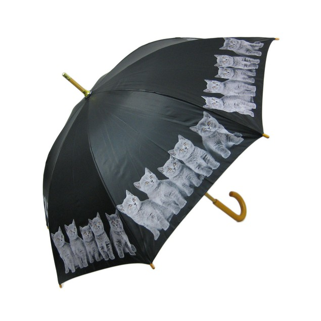 48 Inch Grey Kitten Bamboo Stick Umbrella Umbrellas