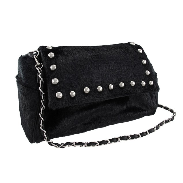 Black Faux Fur Chrome Studded Handbag Purse Womens Shoulder Handbags