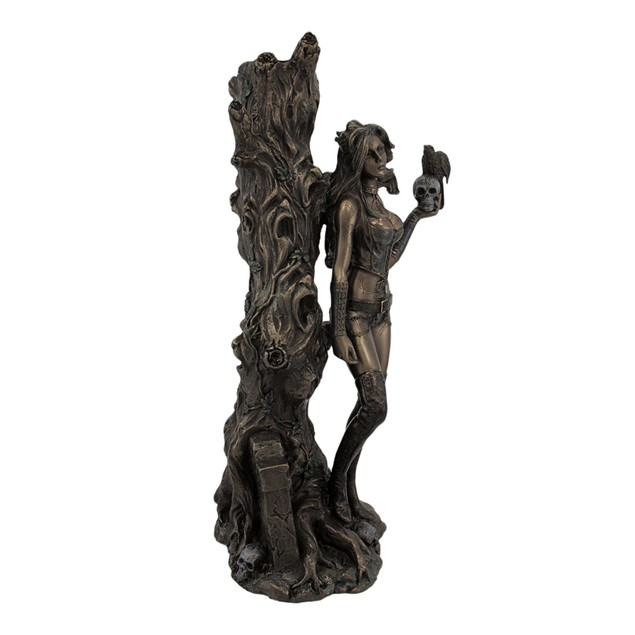 Bronze Finish Gothic Cemetery Girl Taper Candle Candlestick Holders