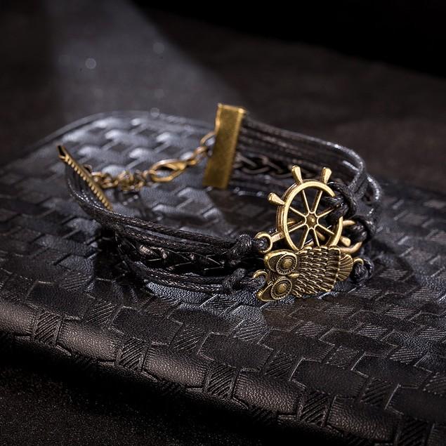 Black Leather Infinite Anchor Emblem Bracelet