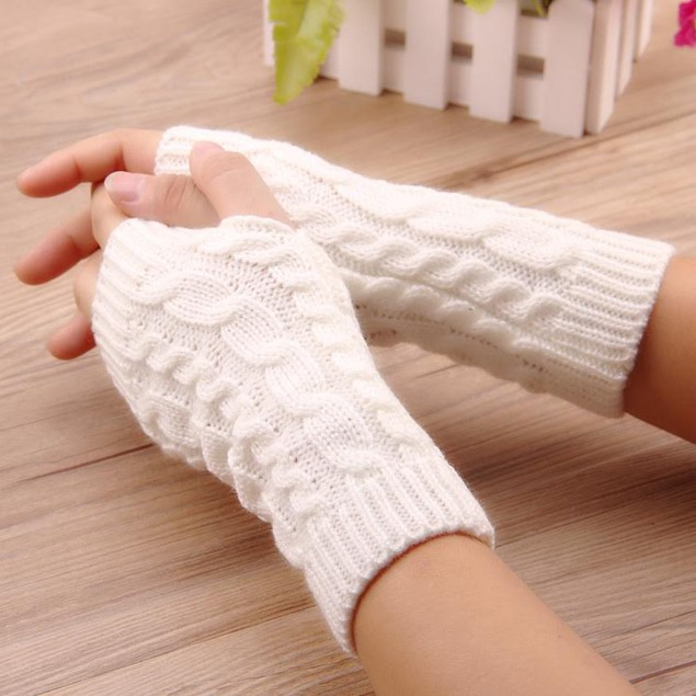 2-Pack- Long Fingerless Knit Gloves