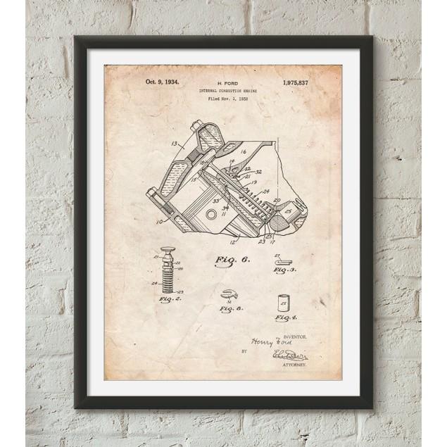 V-8 Combustion Engine 1934 Patent Poster