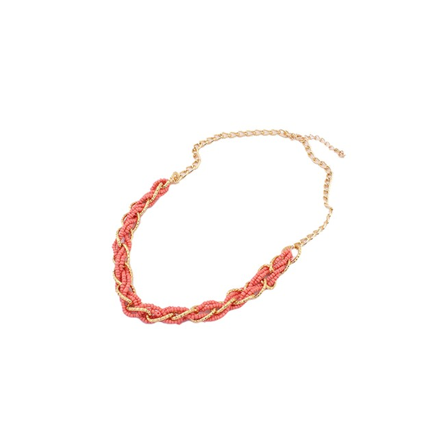 Interwoven Statement Necklace - Coral