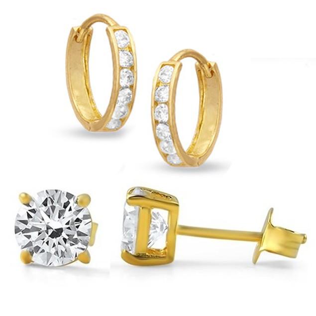 2-Pack: 10k Yellow Gold Crystal Stud & Hoop Earrings