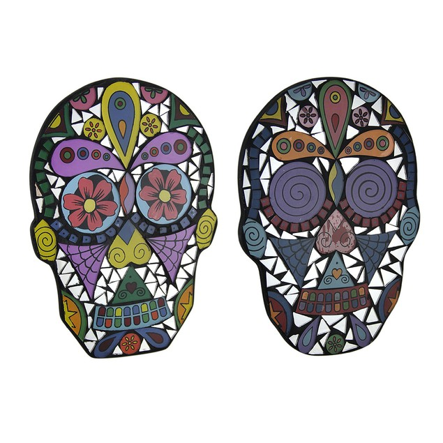Set Of 2 Mirrored Glass Day Of The Dead Mosaic Decorative Plaques