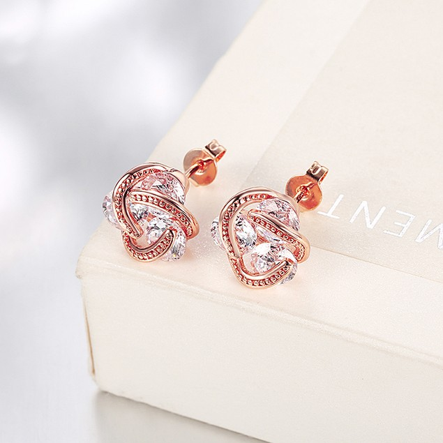 Crystal 18K Gold Plated Triple Stone Stud Earring