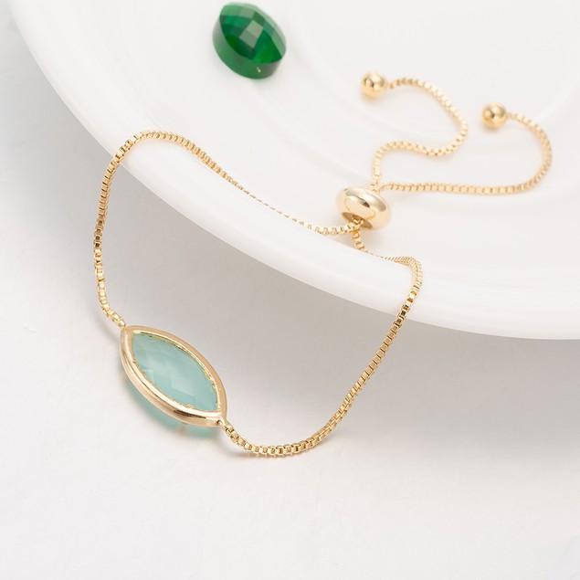 Gold Plated Oval Turquoise Gem Bracelet