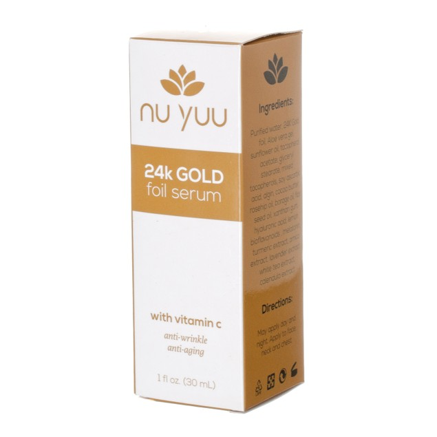 Nu Yuu 24K Gold Foil Facial Serum with Vitamin C + Hyaluronic Acid