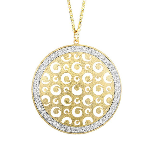 18kt Gold Plated Circle Glitter Necklace