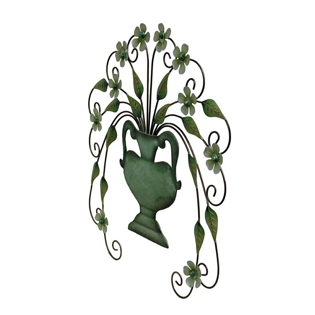 31 Inch Metal Floral Vase Wall Hanging Wall Sculptures