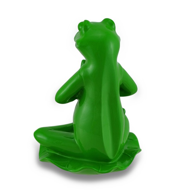 Leaf Green Lotus Position Yoga Frog Figurine Statues
