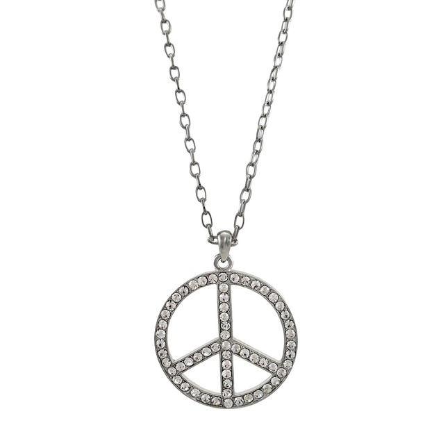 Chrome And Rhinestone Peace Sign Necklace Womens Pendant Necklaces