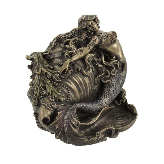 Gorgeous Bronzed Mermaid And Conch Trinket Box Decorative Boxes