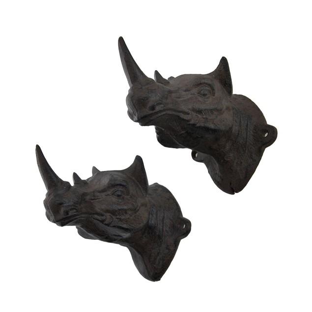 Set Of 2 Rustic Cast Iron Rhinoceros Head Wall Decorative Wall Hooks
